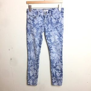Free People Floral Skinny Light Wash Jeans 25